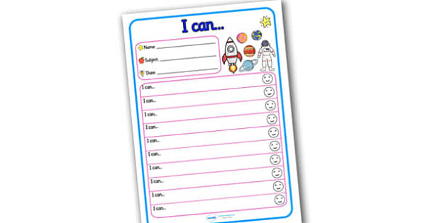 Themed Target and Achievement Sheets Space Themed I Can - target sheets, space, space target sheet, I can target sheet, I can worksheet, targets, rewards