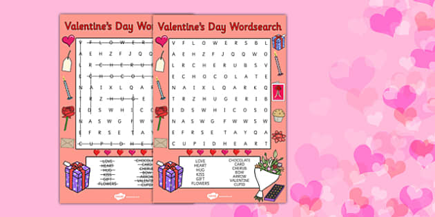 Valentines Day Word Search - valentines day, valentine, wordsearch