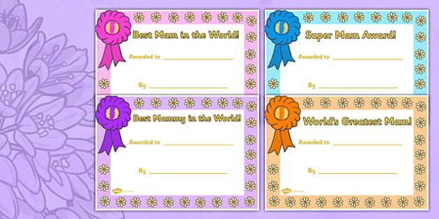 Mother's Day Certificate Irish - mams, mammy, celebration, Ireland
