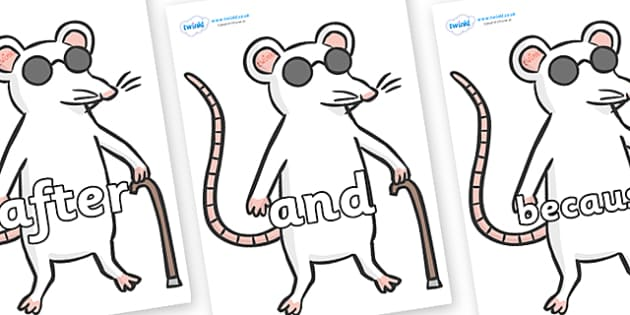 Connectives on Blind Mice - Connectives, VCOP, connective resources, connectives display words, connective displays