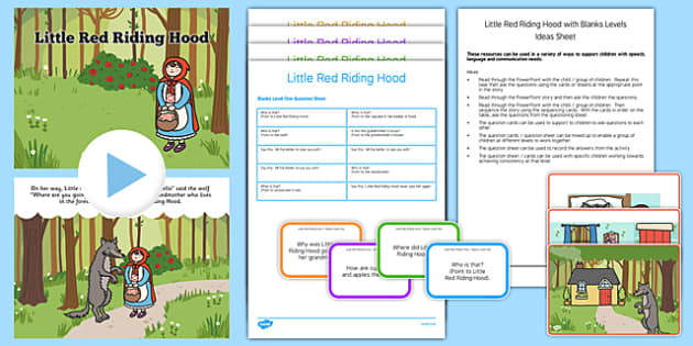 Little Red Riding Hood with Blanks Level Questions - receptive language, expressive language, verbal reasoning, language delay, language disorder, comprehension, autism, Language for Thinking