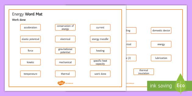 OCR Gateway Physics Topic P7 Energy Word Mat - Word Mat,  gcse, keywords, energy, kinetic, gravitational potential, elastic potential, thermal, che