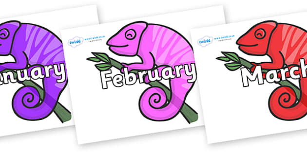 Months of the Year on Chameleons - Months of the Year, Months poster, Months display, display, poster, frieze, Months, month, January, February, March, April, May, June, July, August, September
