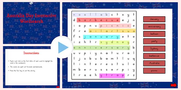 Australia Day Interactive Word Search - australia, wordsearch