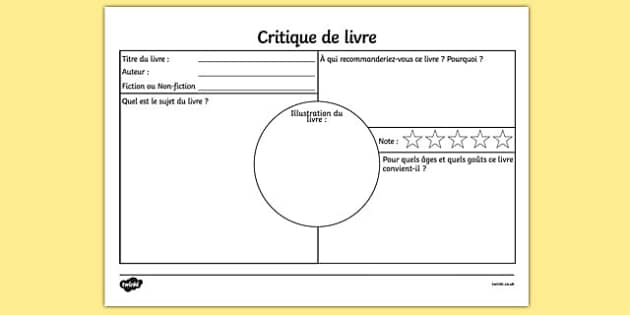 Critique de livre Book Review Worksheet French - french, book review, book review sheet, writing a book review, book review template, book review writing frame, ks2 literacy, reading