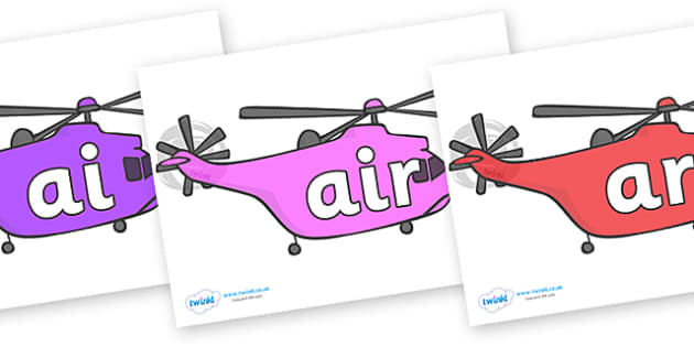 Phase 3 Phonemes on Helicopters - Phonemes, phoneme, Phase 3, Phase three, Foundation, Literacy, Letters and Sounds, DfES, display