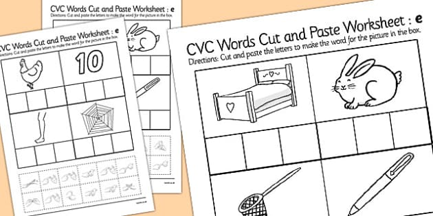 CVC Words Cut and Paste Worksheets e with British Sign Language