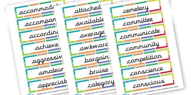 Spellings - Year Five coloured border - KS2 Spelling Primary Resources, Spelling, KS2 Spelling, KS2