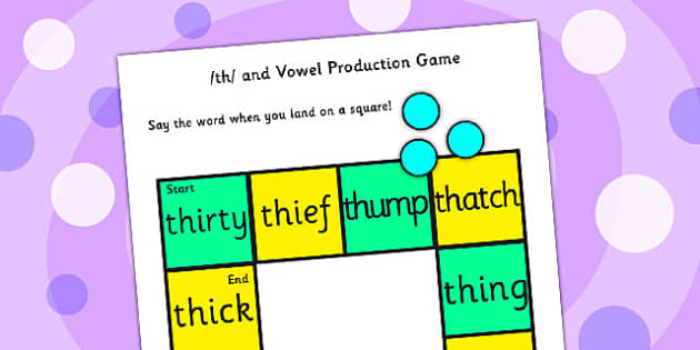 th and Vowel Production Game - th, vowel, sounds, sound, game