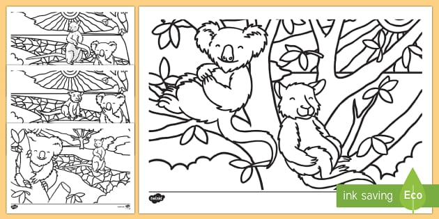 Why the Koala Has a stumpy Tail Colouring Pages - Australian Aboriginal Dreamtime Stories,Australia