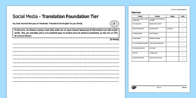 Social Media Foundation Tier Translation Activity Sheet, worksheet