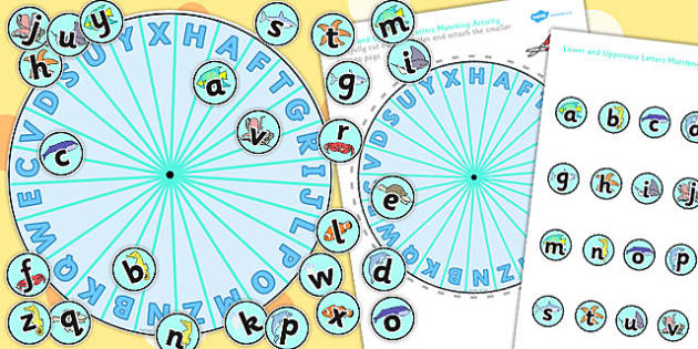 Lower and Uppercase Letters Under the Sea Themed Matching Pegs Activity