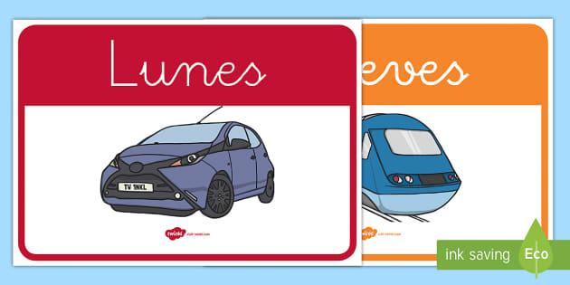Los días de la semana de exposición: Transporte  - Transporte, proyecto, coche, avión, tren, bici, bicicleta, helicóptero, camión, coete, furgoneta,