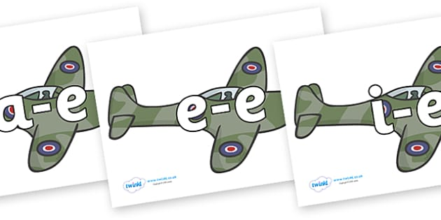 Modifying E Letters on Planes - Modifying E, letters, modify, Phase 5, Phase five, alternative spellings for phonemes, DfES letters and Sounds