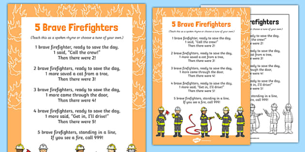 5 Brave Firefighters Rhyme