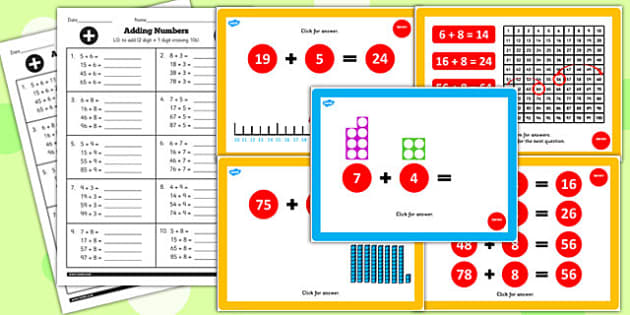 Year 2 Adding 2 Digit Numbers and Ones Crossing 10 Lesson Pack