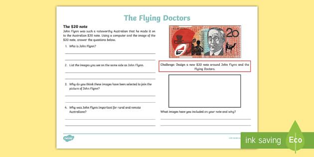 The Flying Doctors: 20 Dollars Activity Sheet - The Flying Doctors, medical, RFDS, The Royal Flying Doctors, aeromedical,Australia, worksheet