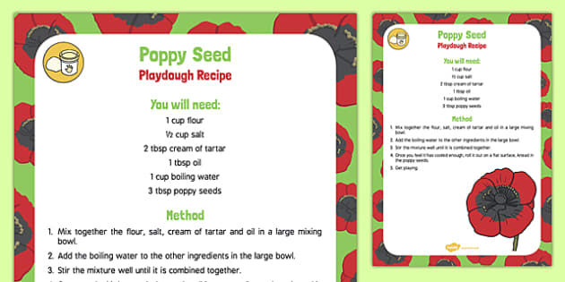 Poppy Seed Playdough Recipe - plants, growth, poppy seed, playdough, recipe