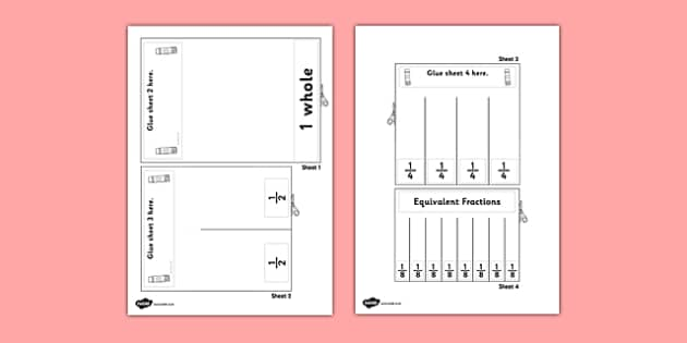 Equivalent Fractions Visual Aid Halves - maths, fraction, aids