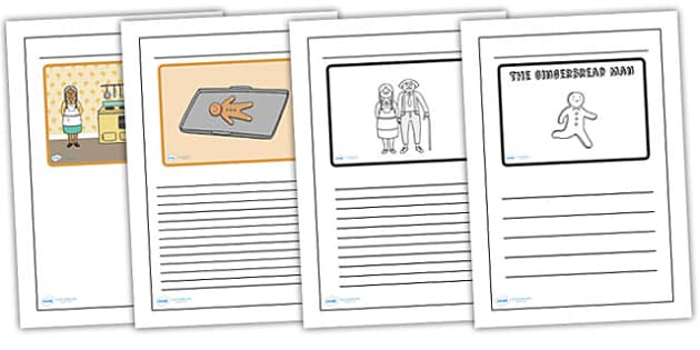 The Gingerbread Man Black and White Lined Writing Frames - the gingerbread man, black, white, lined writing framed, writing frame, writing, literacy