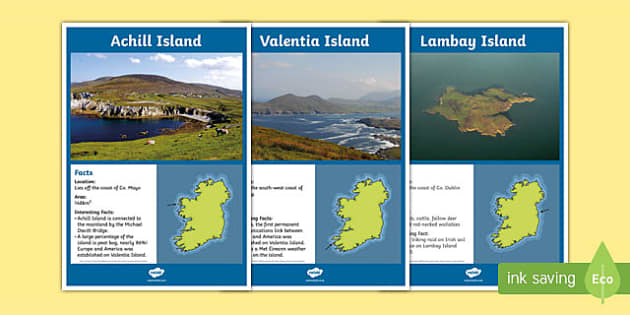 Islands of Ireland Display Facts Posters