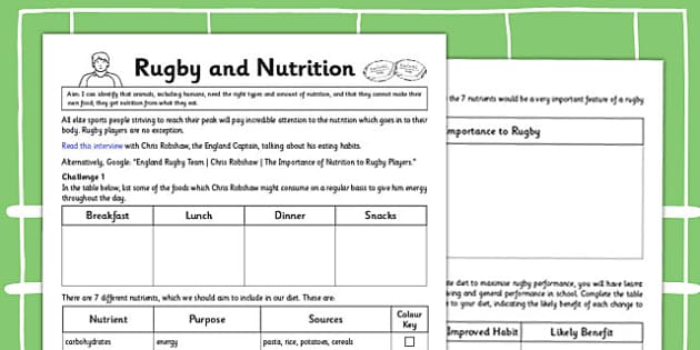 Rugby and Nutrition Activity - rugby, nutrition, activity, sports, world cup