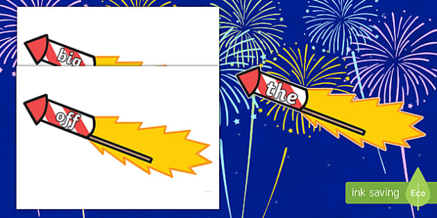 Phase 2 Words on Firework Rockets Cut-Outs