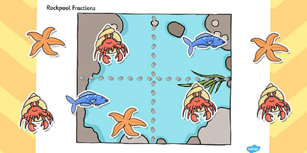 Rockpool Fractions Cut and Stick Activity - cut, stick, activity