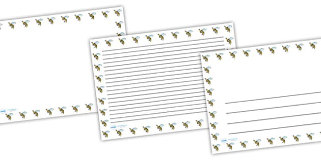 Wasp Full Page Borders (Landscape) - page borders, wasp page borders, wasp borders for page, minibeast page border, landscape, A4, border for page, lined