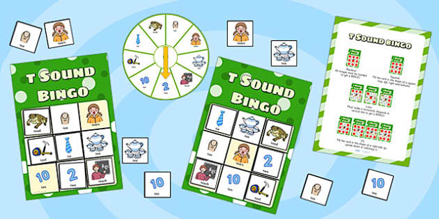 t Sound Bingo Game with Spinner - t sound, sounds, bingo, spinner