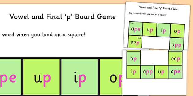 Vowel and Final 'P' Board Game - p sound, final, vowel, game