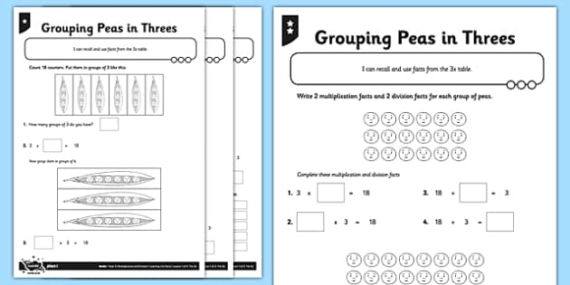 Year 3 Differentiated Pea Pod Arrays Activity Sheet Pack 3 x – Division Arrays Worksheets