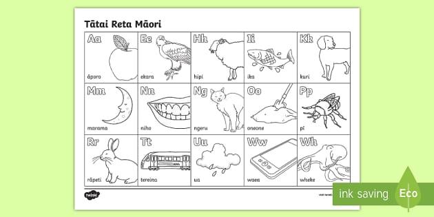 Tatai reta Māor/ Te Reo Māori alphabeti Differentiated Words Colouring Sheet - maori alphabet, colouring in sheet, kupu, pūriki, puriki, tatai reta.