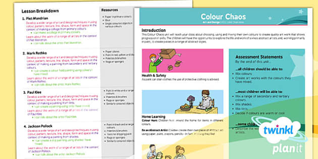 PlanIt - Art KS1 - Colour Chaos Planning Overview - art, colour