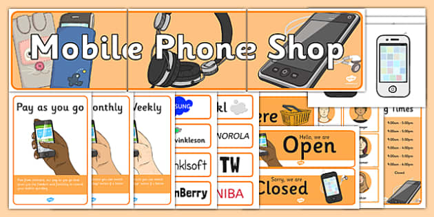 Mobile Phone Shop Role Play Pack - mobile phone shop, role play, pack
