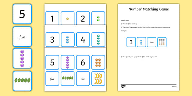 Number Matching Cards 1-10 - number, matching, match, cards, 1-10, maths