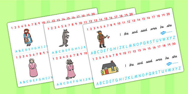 Little Red Riding Hood Combined Number and Alphabet Strips - hood