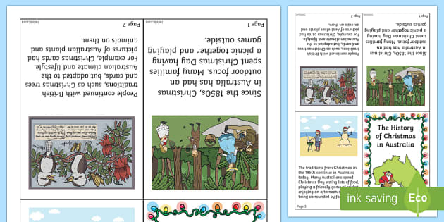 History of Christmas in Australia Mini Book - Christmas Australia, history, celebrations, Christmas, Australia