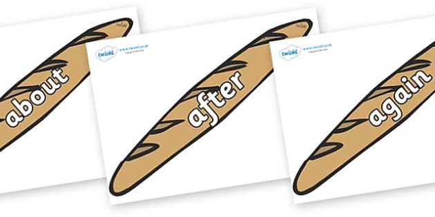 KS1 Keywords on Baguettes - KS1, CLL, Communication language and literacy, Display, Key words, high frequency words, foundation stage literacy, DfES Letters and Sounds, Letters and Sounds, spelling