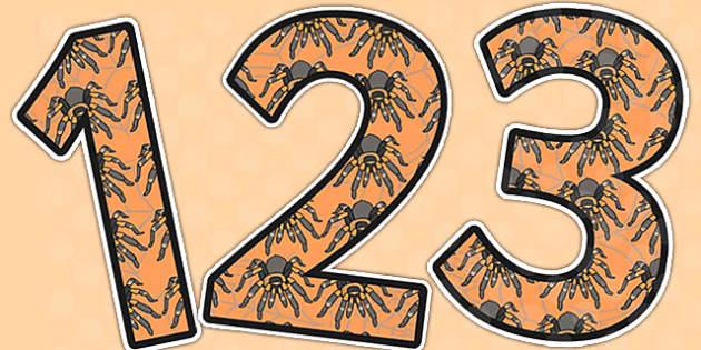 Tarantulas Themed A4 Display Numbers - tarantulas, a4, display, numbers