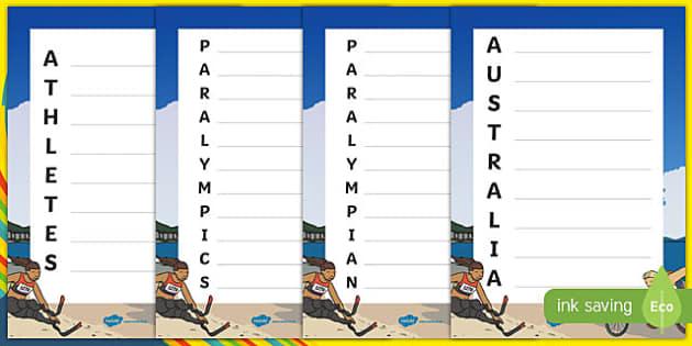Australia Rio Paralympics 2016 Acrostic Poem-Australia