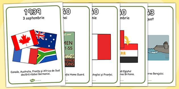 Al II-lea Razboi Mondial - Cronologia Evenimentelor, cartonase , Romanian