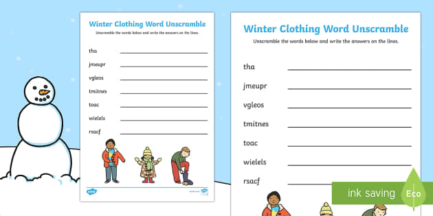 Winter Clothing Word Unscramble
