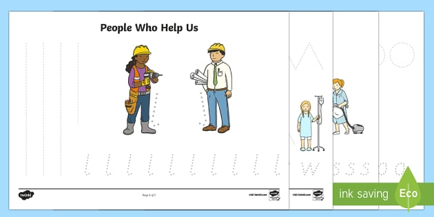 People Who Help Us Pencil Control Sheets - fine motor skills