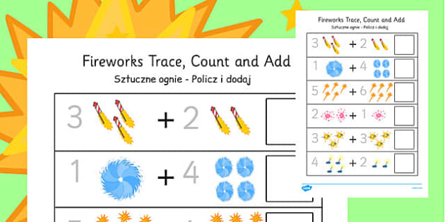 Firework Trace Count and Add Worksheet Polish Translation - polish