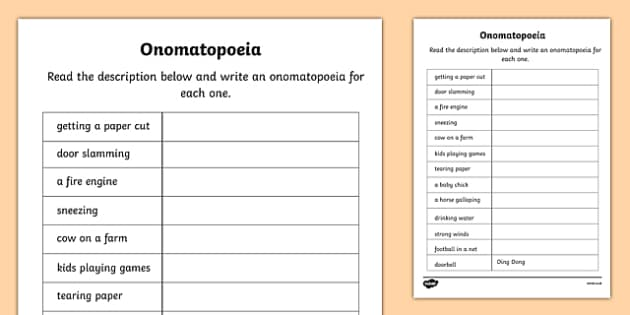 Onomatopoeia Worksheet - onomatopoeia, literacy, worksheet