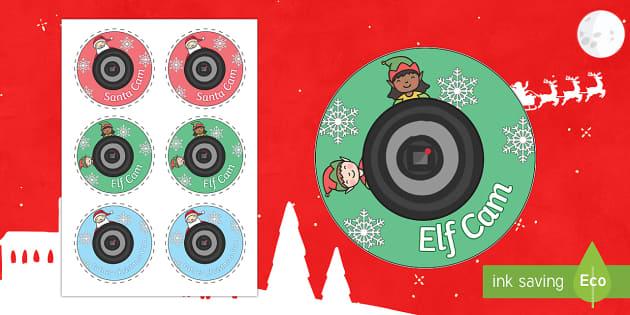 Santa Cam - Elf Cam Badge - Priority Resources, badges, webcam, CCTV, santa, father christmas, elf, santa cam, christmas, displa