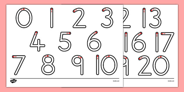 Number Formation 0-20 - one, tweny, numbers, pattern, sequence, numeracy, maths, visual aid, ks1, eyfs, formation writing, fine motor skills, australia,