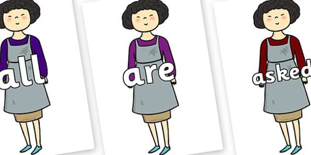 Tricky Words on Aladdins Mother - Tricky words, DfES Letters and Sounds, Letters and sounds, display, words