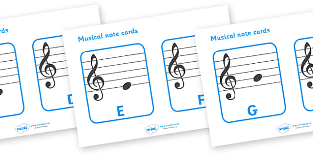 Treble Clef Musical Note Cards - treble clef, musical note, musical note cards, music, playing instruments, instrument, piano